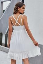 Bílé háčkované krajkové límcové šaty