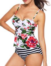 أبيض 2pcs الأزهار طباعة تانكسي ملابس السباحة