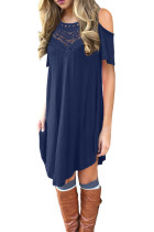 الدانتيل الأزرق الجوف التدريجي الباردة الكتف فستان عارضة