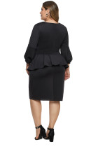 Svart klokke erme Plus Peplum kjole i størrelse