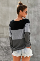 Grey Raglan Sleeve Color Blind Pullover Sweatshirt