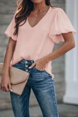Pink bluse med ærmer