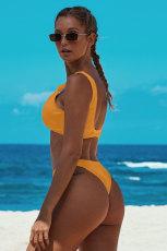 Gul knyttet todelt bikini badedragt