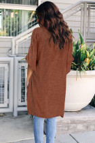 Brown Twist Ruched Hi-low Hem Top