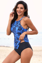 Sky Blue Hanky ​​Hem High Neck Tankini