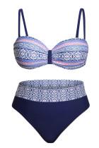 Modré Retro Tisk Bikini Plavky