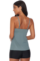 Gray Netted Hollow-out Tankini de sus