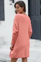 Rosa overdimensjonert batwing ermet genser kjole