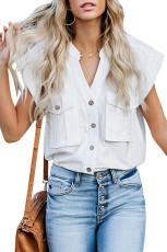 Hvit Button Down Lomme Cap Ermeløs skjorte