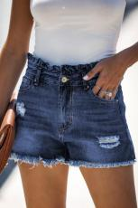Blå High Rise Ruffle Talje Denim shorts
