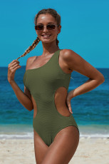 Green One Shoulder Cut Maillot