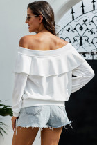 White Off The Shoulder Ruffle Blouse