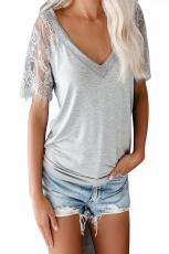Grey Sweet Side Lace Deep V Neck Top T-shirt