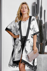 Black Bohemian Print Open Front Loose Kimono Cover Cover Up
