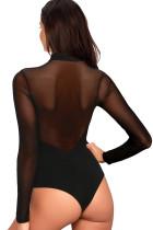 Боди с длинными рукавами черного цвета в сеточку