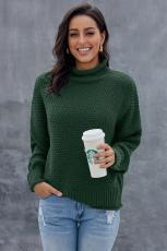 Grøn Overdimenseret Chunky Batwing Langærmet Turtleneck Sweater