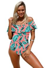 Multicolor Flounce Off Shoulder One Piece Swimsuit