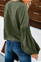 Green Rhapsody Cotton Balloon Sleeve Tie Top