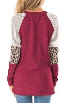 Rød stripete og leopard fargeblokk ermer topp