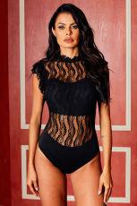 Lace For Words Lace Black Bodysuit Neck High Neck