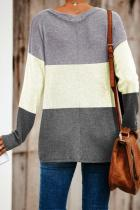 Beige Color Block Twist Top