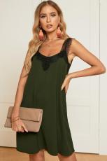 الأخضر الخامس الرقبة الرباط الكتف أكمام اللباس البسيطة