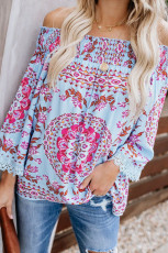 Blue Secret Escape Off The Shoulder Dicetak Top