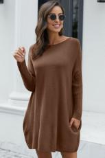 Свободное платье свитер с рукавами летучей мыши цвета хаки