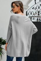 Серое свободное платье-свитер