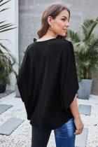 أزياء سوداء تباين اللون الخامس الرقبة بلوزة
