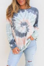 Multicolor Ombre Tie Dye Longgar Leisure Sweatshirt