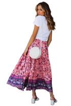 Paarse elastische taille bloemen Maxi rok