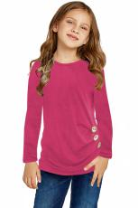Rose Little Girls-top met lange mouwen en knopen