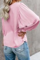 Pink Billowy Bell Sleeve Relaxed Top Pullover Top
