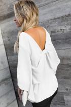 Bílá V-Neck Bowknot Tří-Quarter Sleeve Blouse