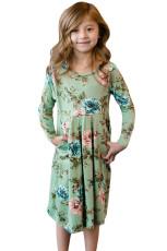 Floral Mint Swing Dress med skjulte lommer