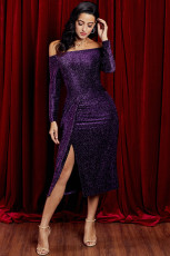 Purple Off Shoulder Ruched Thigh High Slit Sequin Dress