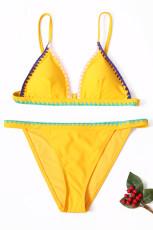 Žlutá polstrovaná vyšívaná Bikini