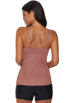 Pink Netted Hollow-out Tankini Top