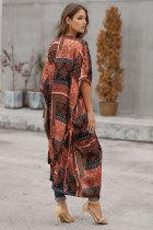 Orange Bohemian Style Tie Kimono