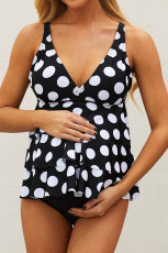 Costum de baie cu imprimeu negru cu imprimeu Dot