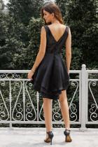 Heart Broken Black Gold Sequin Multi Layer Skater Dress