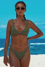 Vihreä solmittu kaksiosainen bikini-uimapuku
