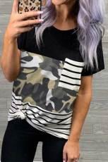 Stribet Camo Pocket T-shirt