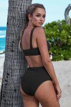 Musta Ribbed Knit Sports Bra korkean vyötärön bikinit