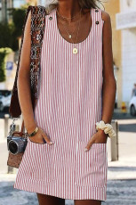 Pink Boho Crew Neck Lommer Daily Striped Shift Dress