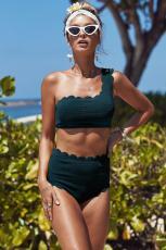 Groene hoge taille geschulpte Trim One Shoulder Bikini