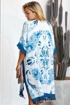 Blue Bohemian Print Open Front Loose Kimono Cover Cover Up