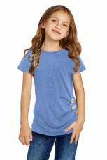 Sky Blue Side Button Detail Kortærmet T-Shirt til Little Girls