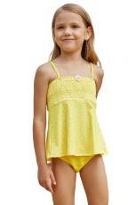 Parlak Sarı Baskılı Çocuk Kız Tankini Mayo